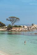 View of sea and beach on sunny summer day, Porto Vecchio, Corsica, France