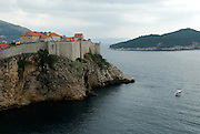 Elevated view from Fortress Lovrinjenac (Fort of Saint Lawrence) of wall and foundations, Dubrovnik old town