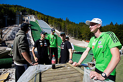 Mitja Meznar (R) at media day of Slovenian Ski jumping team during construction of two new ski jumping hills HS 135 and HS 105, on September 18, 2012 in Planica, Slovenia. (Photo By Vid Ponikvar / Sportida)