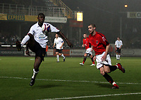 Photo: Mark Stephenson/Sportsbeat Images.<br /> Hereford United v Accrington Stanley. Coca Cola League 2. 24/11/2007.Hereford's Theo Robinson holds up the ball from Robert Williams