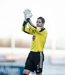 Hearts Neil Alexander at the end. <br /> Falkirk 0 v 3 Hearts, Scottish Championship game played 21/3/2015 at The Falkirk Stadium.