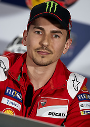 May 3, 2018 - Jerez De La Frontera, Cadiz, Spain - 99 Jorge Lorenzo (Spanish) Ducati Team in the press conference before of the Gran Premio Red Bull of Spain, Circuit of Jerez - Angel Nieto, Jerez de la Frontera, Spain. Thursday, 03rd May, 2018. (Credit Image: © Jose Breton/NurPhoto via ZUMA Press)