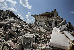 August 30, 2016 - Amatrice, Italy - A general view of damaged building on August 30, 2016 in Amatrice, Italy. Italy has declared a state of emergency in the regions worst hit by Wednesday's earthquake as hopes diminish of finding more survivors. At least 290 people are now know to have died and around 400 injured with teams continuing to search the rubble of collapsed buildings. (Credit Image: © Manuel Romano/NurPhoto via ZUMA Press)