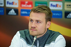 KAZAN, RUSSIA - Wednesday, November 4, 2015: Liverpool's goalkeeper Simon Mignolet during a press conference at the Kazan Arena ahead of the UEFA Europa League Group Stage Group B match against FC Rubin Kazan. (Pic by Oleg Nikishin/Propaganda)