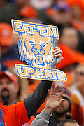 Sam Houston State Bearkats fans hold up signs and make claw gestures during the FCS title game against North Dakota State at FC Dallas Stadium in Frisco, Texas, on January 5, 2013.  (Stan Olszewski/The Dallas Morning News)