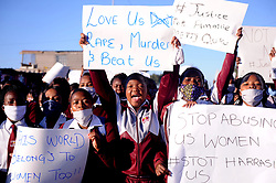 South Africa Cape Town 21 June 2020  Teachers and Pupils of Sinethemba High School protesting after Amahle Quku was killed in Philippi and they march against Gender Based Voilance.A group of learners protesting while a 20 year old accused is appearing today  in connection with the death of 17 year old Amahle Quku of Phillipi. The body of Quku who was in grade 11 was found by residents in a street in Browns Farm. She was allegedly raped and killed.Photographer Ayanda Ndamane African News Agency/ANA