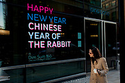 Chinese New Year sign in a restaurant window announces the Chinese Year of the Rabbit.