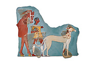 Mycenaean Fresco wall painting of a Mycanaean footman leading a horse & hunting dog,  Tiryns, Greece. 14th - 13th Century BC. Athens Archaeological Museum. Cat No 5878.  White Background. .<br /> <br /> If you prefer to buy from our ALAMY PHOTO LIBRARY  Collection visit : https://www.alamy.com/portfolio/paul-williams-funkystock/mycenaean-art-artefacts.html . Type -   Athens    - into the LOWER SEARCH WITHIN GALLERY box. Refine search by adding background colour, place, museum etc<br /> <br /> Visit our MYCENAEN ART PHOTO COLLECTIONS for more photos to download  as wall art prints https://funkystock.photoshelter.com/gallery-collection/Pictures-Images-of-Ancient-Mycenaean-Art-Artefacts-Archaeology-Sites/C0000xRC5WLQcbhQ