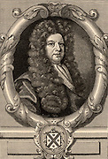 John Blow (1649-1709) English composer and organist.  Engraving after the frontispiece of 'Amphion Anglicus' by John Blow (London, 1700).