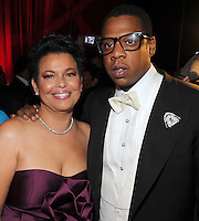 Debra Lee, Chairman & CEO of BET Networks with Jay-Z at the BET Inaugural Gala, held at the Mandarin Oriental Hotel in Washington, DC