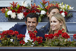 May 13, 2018 - Madrid, Madrid, Spain - Former Portuguese football player Luis Figo (L) and his wife the Swedish model Helen Svedin attend day nine of the Mutua Madrid Open tennis tournament at the Caja Magica on May 13, 2018 in Madrid, Spain  (Credit Image: © David Aliaga/NurPhoto via ZUMA Press)