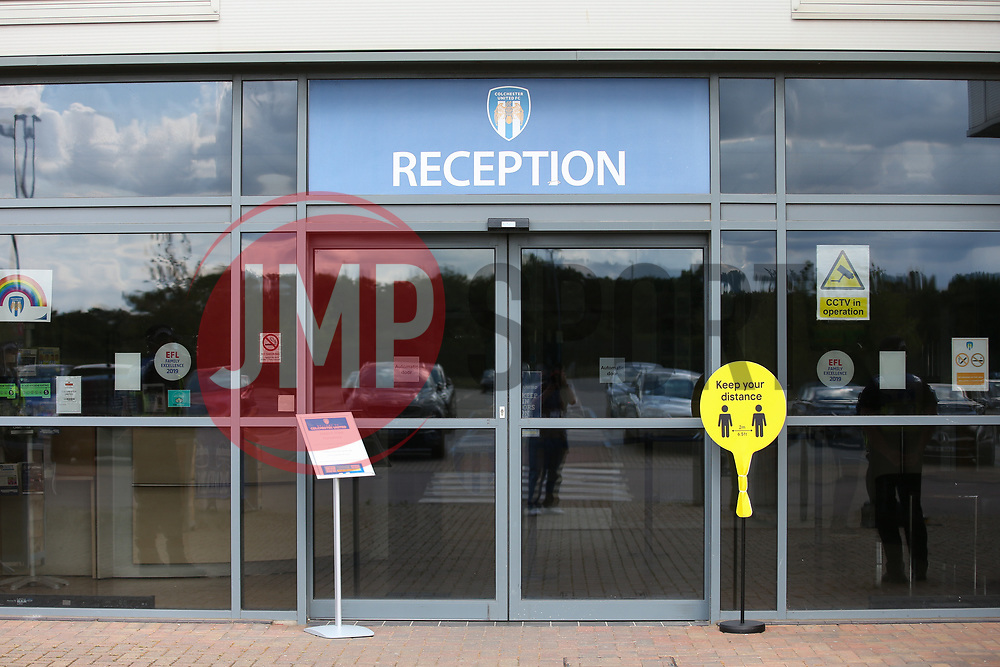 A keep your distance sign is seen outside the stadium - Mandatory by-line: Arron Gent/JMP - 18/06/2020 - FOOTBALL - JobServe Community Stadium - Colchester, England - Colchester United v Exeter City - Sky Bet League Two Play-off 1st Leg
