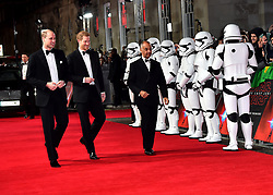 The Duke of Cambridge and Prince Harry attending the european premiere of Star Wars: The Last Jedi held at The Royal Albert Hall, London.