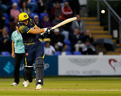 Glamorgan's Chris Cooke hits a boundary <br /> <br /> Photographer Simon King/Replay Images<br /> <br /> Vitality Blast T20 - Round 14 - Glamorgan v Surrey - Friday 17th August 2018 - Sophia Gardens - Cardiff<br /> <br /> World Copyright © Replay Images . All rights reserved. info@replayimages.co.uk - http://replayimages.co.uk
