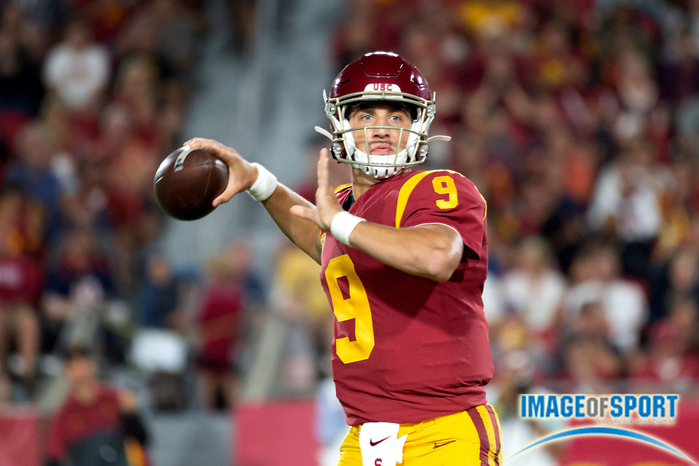 Southern California Trojans quarterback Kedon Slovis (9) looks for receivers during a NCAA college football game against the Stanford Cardinal. Southern California Trojans defeated the Stanford Cardinal 45-20 on Saturday, Sept. 7, 2019, in Los Angeles. (Ed Ruvalcaba/Image of Sport)