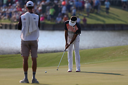 May 11, 2018 - Ponte Vedra Beach, Florida, United States - Bubba Watson (R) putts the 16th green during the second round of The PLAYERS Championship at TPC Sawgrass. (Credit Image: © Debby Wong via ZUMA Wire)