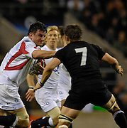 Twickenham. GREAT BRITAIN, Martin CORRY, hands off Richie McCAW, during the, 2006 Investec Challenge, game between, England  and New Zealand [All Blacks], on Sun., 05/11/2006, played at the Twickenham Stadium, England. Photo, Peter Spurrier/Intersport-images].....   [Mandatory Credit, Peter Spurier/ Intersport Images].