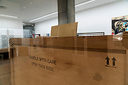 large sturdy wooden crate for artwork transport