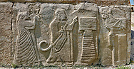 Pictures & Images Hittite relief sculpted orthostat panels of the Sphinx Gate. A king and Queen make offerings to a Bull God.  Alaca Hoyuk (Alacahoyuk) Hittite archaeological site  Alaca, Çorum Province, Turkey, Also known as Alacahüyük, Aladja-Hoyuk, Euyuk, or Evuk .<br /> <br /> If you prefer to buy from our ALAMY PHOTO LIBRARY  Collection visit : https://www.alamy.com/portfolio/paul-williams-funkystock/alaca-hoyuk-hittite-site.html<br /> <br /> Visit our TURKEY PHOTO COLLECTIONS for more photos to download or buy as wall art prints https://funkystock.photoshelter.com/gallery-collection/3f-Pictures-of-Turkey-Turkey-Photos-Images-Fotos/C0000U.hJWkZxAbg