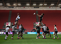 Rugby Union - 2019 / 2020 European Challenge Cup - Semi-final - Bristol Bears vs Bordeaux-Begles<br /> <br /> Bristol Bears' Chris Vui claims the lineout, at Ashton Gate.<br /> <br /> COLORSPORT/ASHLEY WESTERN