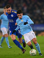 Brahim Diaz of Manchester City battles with Andy King of Leicester city (l) .Carabao Cup quarter final match, Leicester City v Manchester City at the King Power Stadium in Leicester, Leicestershire on Tuesday 19th December 2017.<br /> pic by Bradley Collyer, Andrew Orchard sports photography.