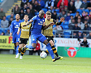 Sol Bamba of Cardiff city (l) holds off Gary Hooper of Sheffield Wednesday (r). EFL Skybet championship match, Cardiff city v Sheffield Wednesday at the Cardiff City Stadium in Cardiff, South Wales on Saturday 16th September 2017.<br /> pic by Andrew Orchard, Andrew Orchard sports photography.