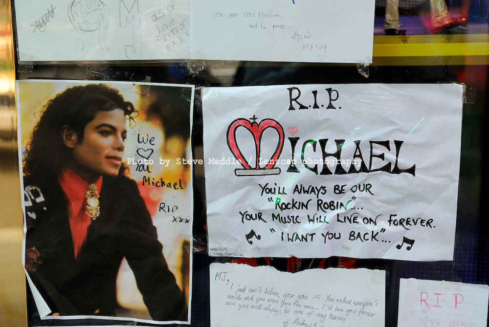 Tributes to Michael Jackson outside the Lyric Theatre where the stage show 'Thriller Live' is still being performed, London, Britain - 2 July 2009