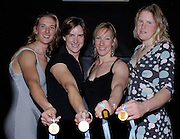 Lords, London, GB Rowing Teams Dinner, GBR Women's Quadruple scull lef to right,  Sarah WINCKLESS,  Katherine,  GRAINGER, Debbie FlOOD and Frances HOUGHTON, presented with their Gold medals, after the Bow of the Russian womens Quad. tested positive, announced by FISA. 03.02.2007. [Photo, Peter Spurrier/Intersport-images].  [Mandatory Credit, Peter Spurier/ Intersport Images].