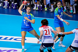 02-12-2019 JAP: Slovenia - Norway, Kumamoto<br /> Second day 24th IHF Womenís Handball World Championship, Slovenia lost the second match against Norway with 20 - 36. / Tjasa Stanko #10 of Slovenia and Ana Gros of Slovenia