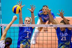 22-08-2017 NED: World Qualifications Slovenia - Bulgaria, Rotterdam<br /> Bulgaria win 3-1 against Slovenia / Eva Mori #1 of Slovenia, Tina Grudina #21 of Slovenia<br /> Photo by Ronald Hoogendoorn / Sportida