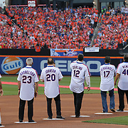 NEW YORK, NEW YORK - May 28: Players salute the crowd during the anniversary celebration of the 1986 World Championship team before the Los Angeles Dodgers Vs New York Mets regular season MLB game at Citi Field on May 28, 2016 in New York City. (Photo by Tim Clayton/Corbis via Getty Images)