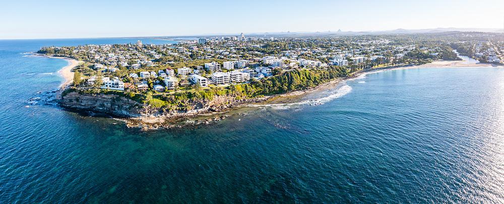 Panoramic aerial view of (l-r) Shelly Beach, Moffat Headland, Moffat Beach, Sunshine Coast, Queensland, Australia