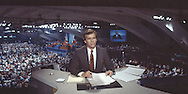 Tom Brokaw, in the NBC anchor booth at the Democratic Convention in San Francisco, CA in July 1984..Photograph by Dennis Brack bs b 17