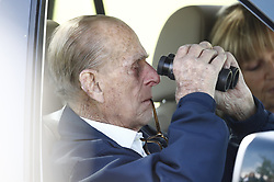 © Licensed to London News Pictures. 11/05/2018. Windsor, UK. The Duke of Edinburgh attends the 75th Royal Windsor Horse Show . The five day event takes place in the grounds of Windsor Castle. Photo credit: Peter Macdiarmid/LNP