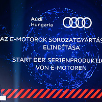 Achim Heinfling president of board of directors Audi Hungaria Zrt. talks at the production start of electric engines at the Audi car factory in Gyor (about 120 km West of Budapest), Hungary on July 24, 2018. ATTILA VOLGYI