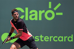 March 30, 2018 - Miami, Florida, United States - Juan Martin Del Potro, from Argentina, in action against John Isner, from the USA, during his semi final match at the Miami Open in Key Biscaynein Miami, on March 30, 2018. (Credit Image: © Manuel Mazzanti/NurPhoto via ZUMA Press)
