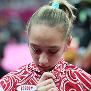 Victoria Komova, Russia, after missing out own a medal in the Gymnastics Artistic, Women's Apparatus, Uneven Bars Final at the London 2012 Olympic games. London, UK. 6th August 2012. Photo Tim Clayton