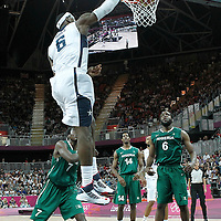 02 August 2012: USA LeBron James dunks the ball during 156-73 Team USA victory over Team Nigeria, during the men's basketball preliminary, at the Basketball Arena, in London, Great Britain.