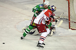 Brendan Yarema of Olimpja and Douglas Lynch of Salzburg at sixth game of the Final of EBEL league (Erste Bank Eishockey Liga) between ZM Olimpija vs EC Red Bull Salzburg,  on March 25, 2008 in Arena Tivoli, Ljubljana, Slovenia. Red Bull Salzburg won the game 3:2 and series 4:2 and became the Champions of EBEL league 2007/2008.  (Photo by Vid Ponikvar / Sportal Images)..