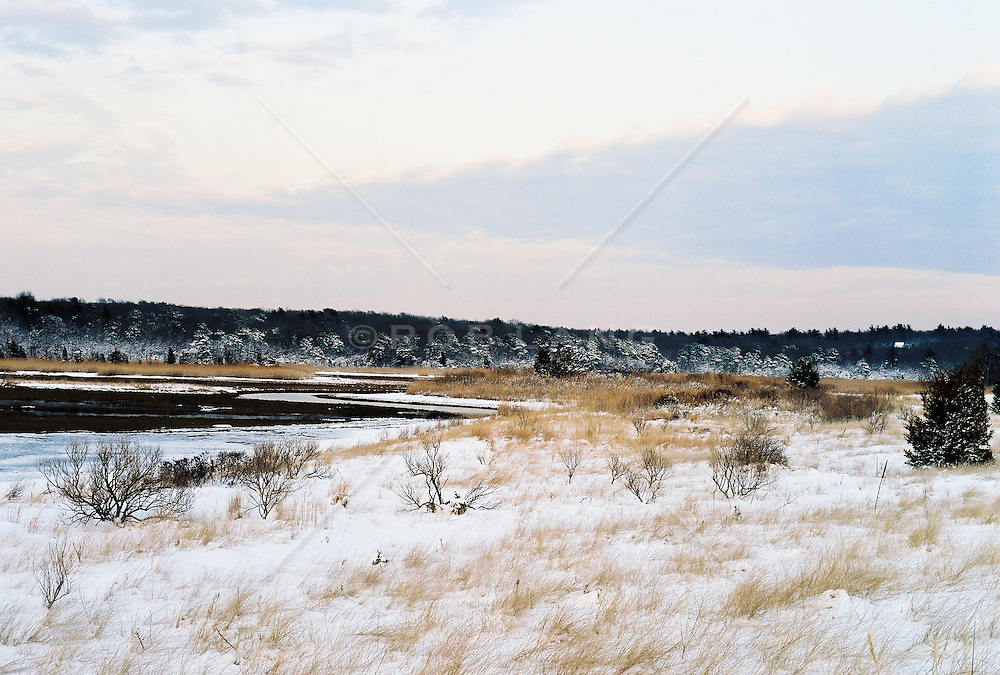 Snow-covered landscape against sky in East Hampton