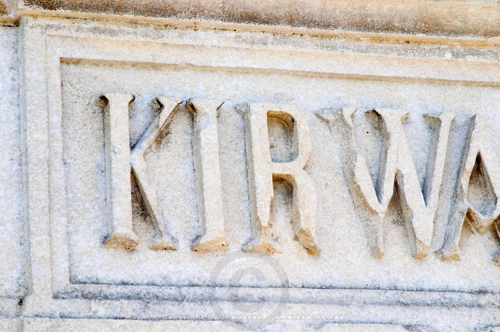 A stone inscription Kirwan on one of the gate post pillars, detail Chateau Kirwan, Cantenac Margaux Medoc Bordeaux Gironde Aquitaine France