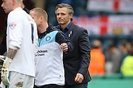 Gareth Ainsworth, the Wycombe Wanderers manager looking dejected after the final whistle. Skybet football league two match, Wycombe Wanderers  v AFC Wimbledon at Adams Park  in High Wycombe, Buckinghamshire on Saturday 2nd April 2016.<br /> pic by John Patrick Fletcher, Andrew Orchard sports photography.
