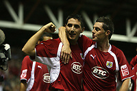 Photo: Rich Eaton.<br /> <br /> Bristol City v Manchester City. Carling Cup. 29/08/2007. Bristol City's Bradley Orr (l) scores in the seccond half to make the score 1-1.