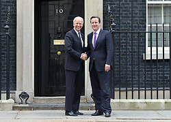 © Licensed to London News Pictures. 05/02/2013. Westminster, UK American Vice President Joe Biden (L) leaves number 10 Downing Street with UK Prime Minister, David Cameron,  after meetings today 5th February 2013. Photo credit : Stephen Simpson/LNP
