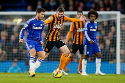 Eden Hazard of Chelsea is challenged by Andrew Robertson of Hull City - Photo mandatory by-line: Rogan Thomson/JMP - 07966 386802 - 13/12/2014 - SPORT - FOOTBALL - London, England - Stamford Bridge - Chelsea v Hull City - Barclays Premier League.