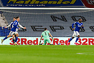 GOAL 1-0 Cardiff City's Junior Hoilett (33) turns away after scoring his sides first goal during the EFL Sky Bet Championship match between Cardiff City and Barnsley at the Cardiff City Stadium, Cardiff, Wales on 3 November 2020.