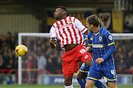 Dannie Bulman of AFC Wimbledon in action during the Sky Bet League 2 match between AFC Wimbledon and Stevenage at the Cherry Red Records Stadium, Kingston, England on 12 December 2015. Photo by Stuart Butcher.