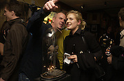 Norman Cook and Polly Morgan, Opening of  Santa's Ghetto. Mixed art exhibition.  9 Berwick St. Soho, London. 30  November 2005. ONE TIME USE ONLY - DO NOT ARCHIVE  © Copyright Photograph by Dafydd Jones 66 Stockwell Park Rd. London SW9 0DA Tel 020 7733 0108 www.dafjones.com