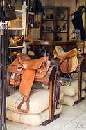 Leather shop featuring saddles in Cotacachi, Ecuador
