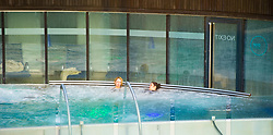Pictured: <br /> Things you never thought you would see in Scotland - open-air swimming in the middle of Edinburgh's financial district<br /> <br /> Ger Harley | EEm 8 March 2017